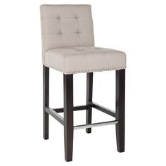 Soft beige linen  Subtle bisquit tufting and individual nailhead trims around the bottom and back of the barstool   Product weight:...