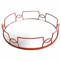 """Mirrored glass tray with iron side accents in red.  Product: TrayConstruction Material: Iron and mirrored glassColor: RedDimensions: 4"""" H x 15"""" Diameter"""