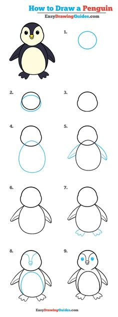 Learn How to Draw an Easy Penguin: Easy Step-by-Step Drawing Tutorial for Kids and Beginners. #penguin #drawing #tutorial. See the full tutorial at https://easydrawingguides.com/draw-penguin-really-easy-drawing-tutorial/