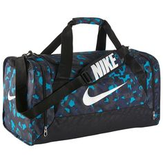 Nike Brasilia Duffel Bag, Blue ($34) ❤ liked on Polyvore featuring bags, luggage and blue