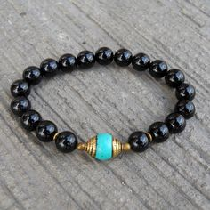 Onyx and Turquoise beaded necklace with Tibetan pendant, 108 bead mala – Lovepray jewelry