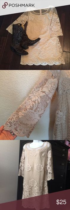 Taupe Lace Dress size 8 Worn once as a bridesmaid for a Texas Shabby Chic wedding. Perfect condition and has 3/4 lace batsleeves. Size 8. Open to offers and trades with positive feedback. Muse Refined Dresses Long Sleeve