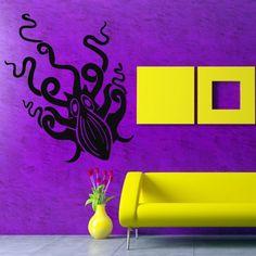 Wall Decal Decor Decals Sticker Art Design Vinyl Octopus Clever Tentacles Fish Jellyfish Deep Sea Ocean Animals Bedroom (M1128) DecorWallDecals http://www.amazon.com/dp/B00KEJSKO0/ref=cm_sw_r_pi_dp_XNV2ub0C9FBTP