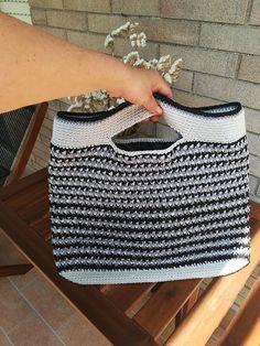 PATTERN: striped cotton bag crochet cotton bag striped