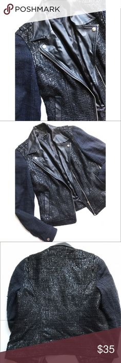 Black & Blue Tweed Jacket  Mixed media jacket, faux leather and tweed like material! Jackets & Coats Blazers