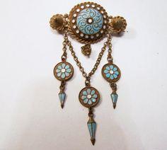 Art Deco Etruscan Enamel Pin Blue White by GretelsTreasures