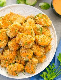 Brussels sprouts are coated in panko bread crumbs, baked until crispy and then drizzled with bang bang sauce. Bang Bang Brussels Sprouts make a delicious appetizer or side dish. Baked Cauliflower Bites, Bang Bang Cauliflower, Cauliflower Recipes, Cauliflower Rice, Yummy Appetizers, Healthy Baking, Family Meals, Party, Veggies
