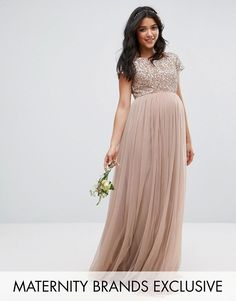 Maternity Wedding Dress for bridesmaid or guest - Maya Maternity Maxi Dress With Delicate Sequin And Tulle Skirt #affiliate
