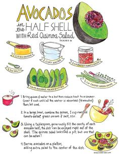 """Avocado """"on the half-shell"""" filled with red quinoa and topped with green onions. yum!"""