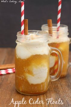 Apple Cider Floats. Delicious and easy ice cream floats that are made using apple cider. These are a great treat that can even be made dairy-free. #drink #applecider