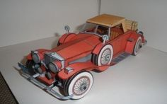 This paper car is a 1932 Duesenberg Model SJ Roadster, a luxury automobile made by Duesenberg, the paper model is created by ABC, and the scale is in Paper Model Car, Paper Car, Cardboard Toys, Paper Toys, Duesenberg Car, Papercraft Download, Free Paper Models, Miniature Cars, Paper Animals