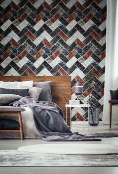 Herringbone Wallpaper by Mind The Gap Art Deco Wallpaper, Pattern Wallpaper, Herringbone Wallpaper, Living Room Decor, Bedroom Decor, Warm Bedroom, Contemporary Wallpaper, Urban Architecture, Interior Decorating
