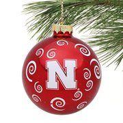 Nebraska Cornhuskers Swirl Ball Ornament - Scarlet