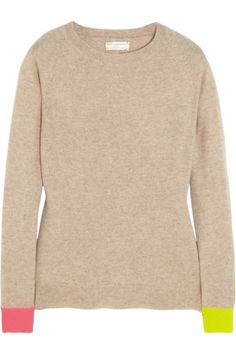 Chinti and Parker|Contrast-cuff cashmere sweater|NET-A-PORTER.COM