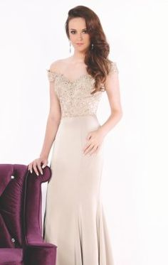 Off-The-Shoulder Lace Satin Gown by Evenings by Mon Cheri MCE11633