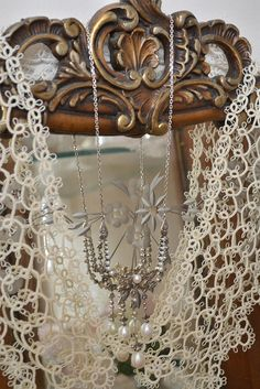 Beautiful tatting.        My grandmother used to sit in a rocking chair and tat. I have forgotten what she taught me. I hope these handworks of art are not lost to us.