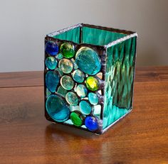 Stained Glass Candle Holder Bubbles by KolorWavesGlass on Etsy