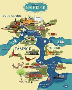Tourist map for Svendborg and surrounding islands. Travel Maps, Travel Posters, Draw Map, Getting Married In Denmark, Visual Map, Pictorial Maps, Map Pictures, Tourist Map, Island Map