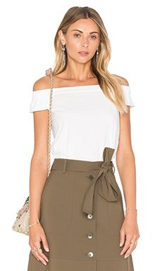 Tibi Off Shoulder Top in White