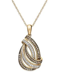 Wrapped in Love™ Brown and White Diamond Swirl Pendant Necklace in 14k Gold (1/3 ct. t.w.)