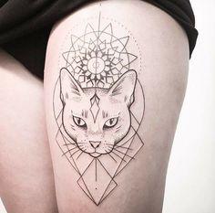 Best Geometric Tattoo - nice Geometric Tattoo - geometric cat......