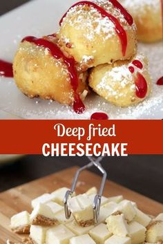 Deep fried cheesecake: this recipe is so easy to make and will take your love for cheesecake to a new level! - - - - Deep fried cheesecake: this recipe is so easy to make and will take your love for cheesecake to a new level! Fried Cheesecake, Cheesecake Bites, Cheesecake Recipes, Dessert Recipes, Food Truck Desserts, Cheesecake Brownies, Chocolate Cheesecake, Deep Fried Desserts, Deep Fried Foods