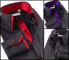 Mens Casual Double Collar Slim Fit Formal Shirt Italian Design Long Sleeve DC07