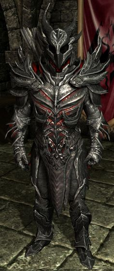 ▄ http://www.pinterest.com/questinggm/armor/  I don't even play Skyrim, but this guy looks very cool. Daedric Armor (Skyrim) - The Elder Scrolls Wiki