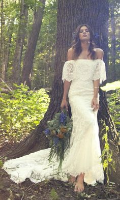 "Off the Shoulder Lace Bohemian Wedding Gown for Indie Bride - ""Laurence"" by Daughters of Simone"