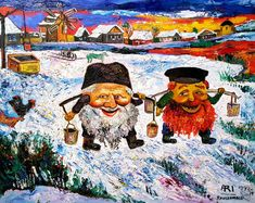 Among the many who have lauded Ari Roussimoff's paintings were the modern art masters Marc Chagall and Oskar Kokoschka. Arte Judaica, Judaism, Modern Art, Original Paintings, Folk, The Originals, Water, Gripe Water, Popular