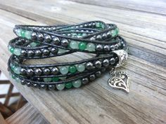 Summer Necklace Bracelet Leather Wrap Ethnic by OffOnAWhimJewelry, $85.60