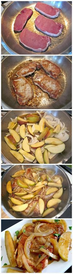Spiced Apple and Onion Pork Chops! Easy-peasy! Wow! Sweet apples, and spices such as cinnamon and nutmeg with a mellow onion flavor smothering juicy chops! Winning!