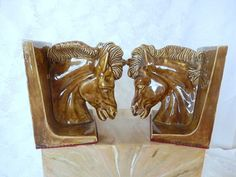 vintage horse head bookends, vintage home decor, ceramic, brown horse head, equestrian book ends, by brixiana on Etsy https://www.etsy.com/listing/220973803/vintage-horse-head-bookends-vintage-home