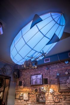 Cool Steampunk Bistro Pub with nice Ceiling Lights