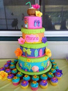Luau cake for Tianna (luau party desserts for kids) Luau Birthday Cakes, Luau Cakes, Ocean Cakes, Beach Cakes, Hawaiian Birthday, Party Cakes, Hawaiian Cakes, Hawaiian Luau, Birthday Ideas