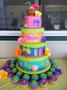 This cake was stacked on a Wilton Towering Tiers cake stand- which I usually do not like because I dont like to see any plastic or spacing between tiers. But I covered each plate with fondant and cut fringe to represent a grass skirt.