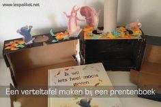 Een verteltafel maken bij een prentenboek Curriculum, School Info, School Pictures, Toddler Activities, Toy Chest, Storytelling, Children, Kids, Teaching
