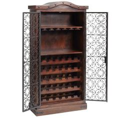 The Lawana armoire is built to safeguard your wine collection for a very long time. Built in India from mango wood with a hand-forged iron gate and corner brackets, the cabinet is designed for 35 bottles of your finest, plus 20 glasses and corkscrews, linens and tasting notes.