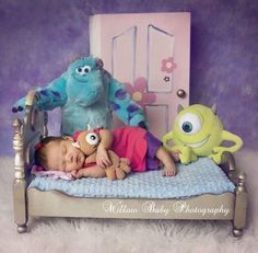 My Ideas: For her first Halloween, dress Savannah up as Boo from Monsters, Inc, including the stuffed animals and door made out of cardboard. So Cute Baby, Cute Babies, Newborn Baby Photography, Newborn Photographer, Children Photography, Halloween Newborn Photography, Cute Baby Pictures, Newborn Pictures, Photo Halloween