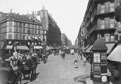 Paris - L'animation de rue La Fayette à hauteur de la rue Cadet, vers 1889 (photo Léon & Lévy, collection BnF)