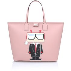 Karl Lagerfeld K/Robot Shopper Karl ($355) ❤ liked on Polyvore featuring bags, handbags, tote bags, shopping tote, zippered tote, handbags & purses, leather tote and pink leather tote