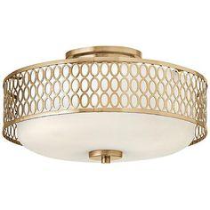 """Hinkley Jules 8 1/4"""" High Brushed Gold Ceiling Light - #8T690   www.lampsplus.com"""