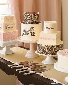 This suite of sweets by Wendy Kromer features a graphic calligraphy-style motif and words from classic wedding vows. The designs are incorporated into white chocolate panels using plastic transfer sheets printed with tinted cocoa butter. The panels are then adhered to tiers evenly frosted in buttercream, which is also used to create the string-of-pearls effect on each level. Pools of raspberry sauce adorn two of the cakes.