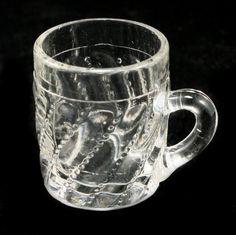 EAPG Beaded Swirl Glass Miniature Mug Antique Child's by charmings,