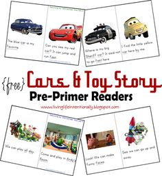 {free} printable Cars and Toy Story #Prechool Early #Readers based on Pre-Primer Dolche #SightWords