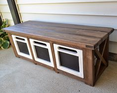 The Domestic Doozie: Custom Entryway Bench with Chalkboard Crates- This would be great to you for UPS delivery and other outdoor storage