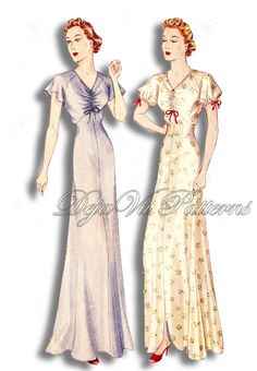 Simplicity S609 Vintage 1930s Bias Cut Shirred Bodice Nightgown Sewing Pattern by DejaVuPatterns