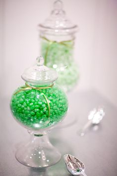 Green Candy in Glass Jars.