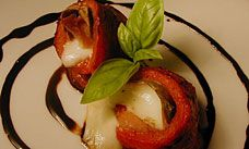 Roasted Red Pepper Rolls Stuffed with Prosciutto, Mozzarella & Basil