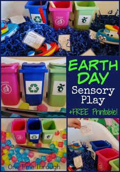 Find 2 unique EARTH DAY sensory bin ideas - perfect for teaching young children about taking care of the environment through recycling, composting and reducing waste. Includes a FREE printable garbage sorting sheet. {One Time Through} Sensory Bins, Sensory Activities, Sensory Play, Recycling Activities For Kids, Sensory Table, Therapy Activities, Importance Of Recycling, Earth Day Crafts, Earth Day Activities